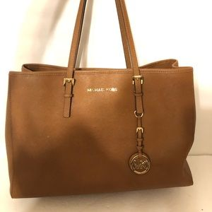 MICHAEL KORS brown saffiano leather tote bag